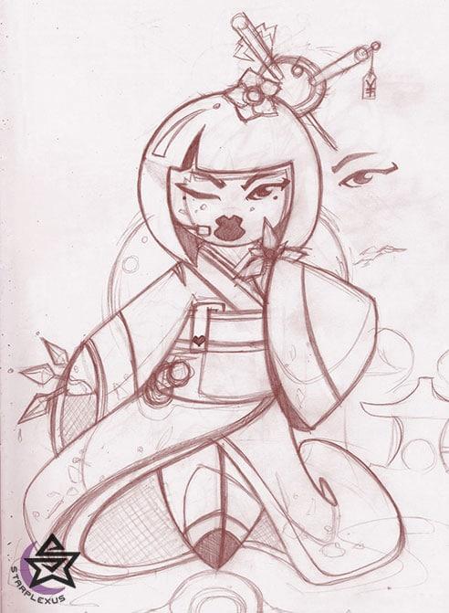 assassin geisha sketch
